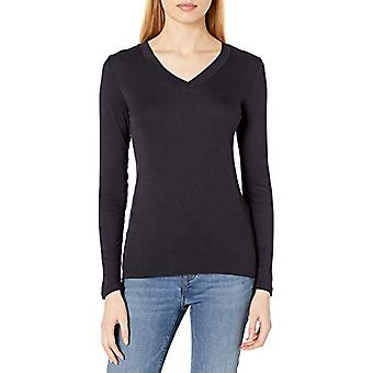 Brand - Daily Ritual Women's Fluid Knit Long-Sleeve V-Neck Shirt, Navy, X-Small