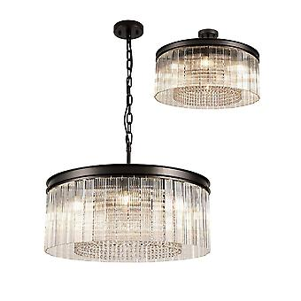 Éclairage Luminosa - Pendentif de plafond cylindrique moyen. 8 Lumière E14, Oxyde brun