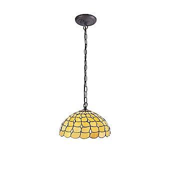 Iluminación luminosa - 1 light Downlighter colgante de techo E27 con 50cm Tiffany Shade, Beige, cristal transparente, latón antiguo envejecido