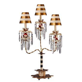 Elstead Birdland - 1 lámpara de mesa ligera negra, oro, cristal, E27