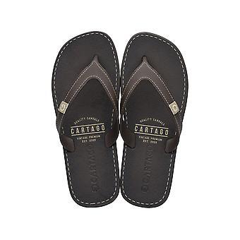 Mens Cartago Sandals Dakar Beach Flip Flops - Brown