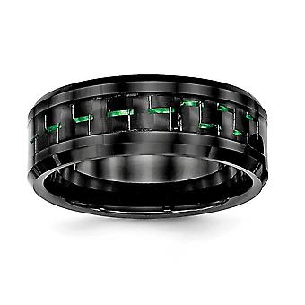 8mm keramisk sort med grøn kulfiber facetteret Edge Ring smykker Gaver til kvinder - Ring Størrelse: 7 til 13