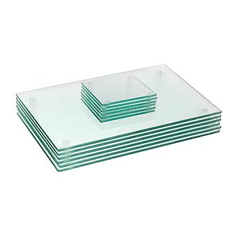 12 Piece Glass Placemats and Coasters Set - 30 x 20cm - Clear