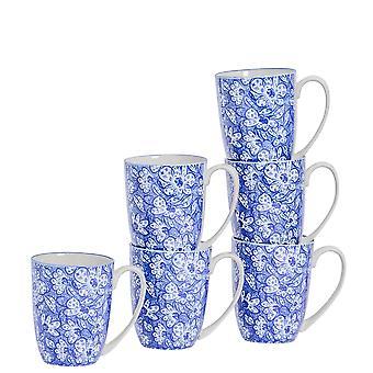 Nicola Spring 6 Piece Paisley Patterned Tea and Coffee Mug Set - Large Porcelain Latte Mugs - Navy Blue - 360ml