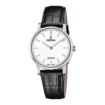 Festina Swiss F20013-1 Women's Swiss Made Black Leather Wristwatch