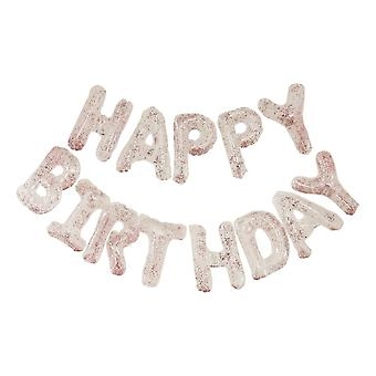 Clear Foil & Confetti Happy Birthday Balloons Banner 4m