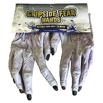 Grips Fear Bones Skeleton Grim Reaper Day Of The Dead Mens Costume Hands Gloves