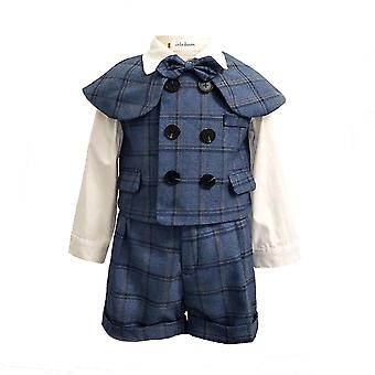 Boy Cotton Suits With Double Breasted Vest Short Shawl Suit Sets