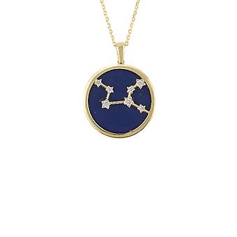 Zodiac Lapis Blue Gemstone Star Pendant Necklace Gold Virgo