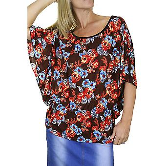 Women's Elasticated Waist Floral Print Blouse Ladies Everyday Scoop Neck Batwing Sleeve Tunic Top Shirt 10-18