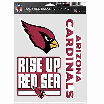 NFL ملصقا متعددة الاستخدام 3 تعيين 20x15cm - أريزونا الكاردينالات