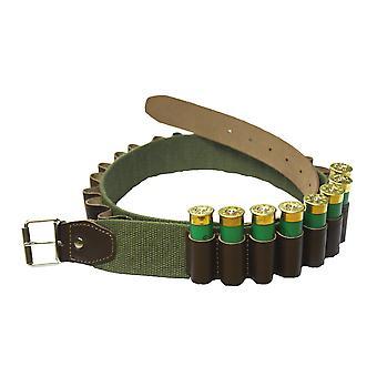 Bisley Canvas 25 Shotgun Cartridge Belt - leather loops 12 Gauge - 32 to 39 inch