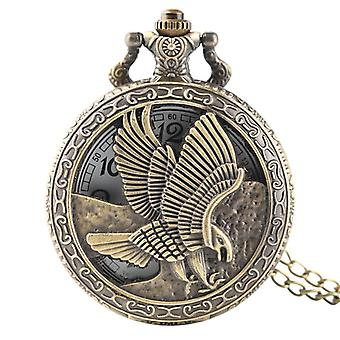 DEFFRUN Vintage bronze Eagle Wings Pattern Pocket Watch Necklace Digital Dial