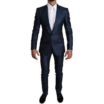 Blue metallic 2 piece men martini suit