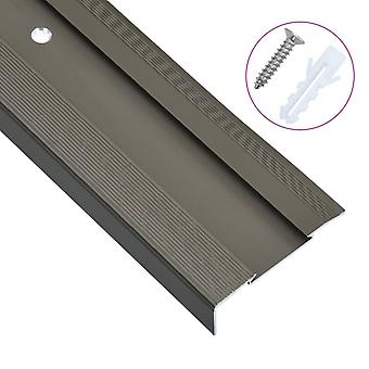 Stair edges in L-shape 15 pcs. aluminium 100 cm brown