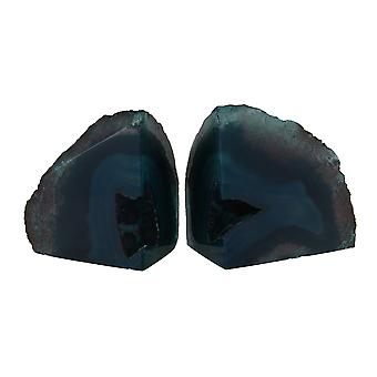 Small Polished Green Brazilian Agate Geode Bookends Under 4 Pounds