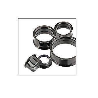 Black anodized titanium screw fit double flare ear gauges - sold as a pair