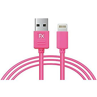 FX Powabud USB Data Cable for iPhone 6/6-Plus/5G/5S/5C Pink