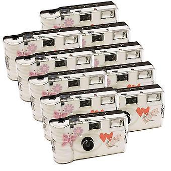 10X foto porsta cámara desechable / cámara de boda / mariposa (cámaras 27 fotos flash 10 paquete)