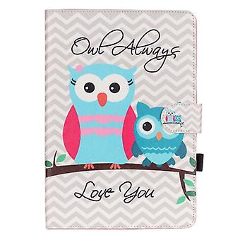 For Galaxy Tab A 9.7 / T550 Wave Stripes Owls Pattern Horizontal Flip Leather Case with Holder & Card Slots & Wallet