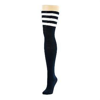 Flirt Referee Thigh High Socks Black & White
