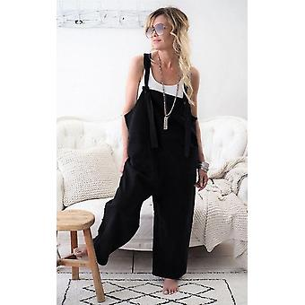 Mulheres Casual Sólido Strappy Dungarees Vintage Cotton Linho Solto Rompers Casual