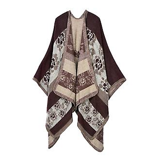 Women's Autumn And Winter Plus Size Flowers Brown Warm Scarf Blanket Shawl