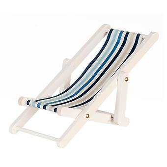 Casa de Bonecas Miniatura Branco Madeira Azul Listra Dobrando Cadeira de Deck