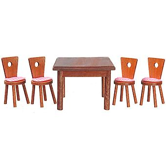 Dolls House Walnut Square Dining Table & 4 Chairs Miniature Furniture Set