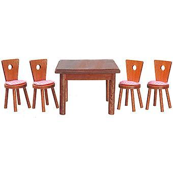 בית בובות וולנאט כיכר שולחן אוכל & 4 כיסאות מיניאטורי רהיטים סט