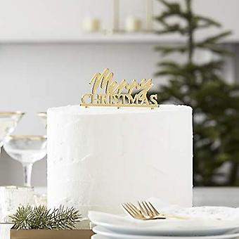 Merry Christmas Gold Acrylic Cake Topper