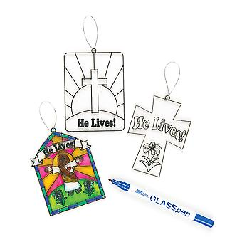 He lives' suncatcher glass effect acrylic decorations 10cm, 3 assorted, children's easter painting c