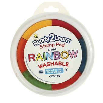 Jumbo 6-In-1 Circular Washable Stamp Pad, Rainbow