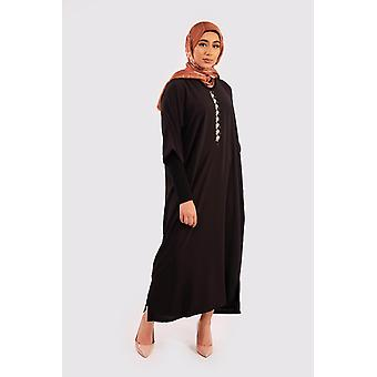 Djellaba hilal cropped sleeve hooded maxi dress kaftan in black