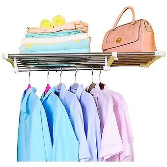BAOYOUNI Extendable Closet Shelf Rod Clothes Hanger Organizer Heavy Duty Metal Storage Rack