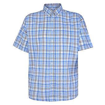 Carabou Blue & Brown Check Short Sleeve Shirt