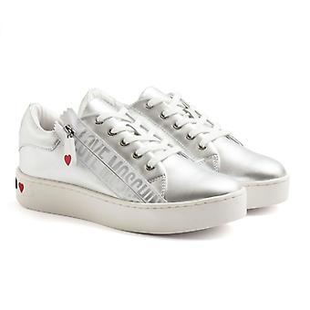 Love Moschino Silver Sneaker con cremallera y cremallera