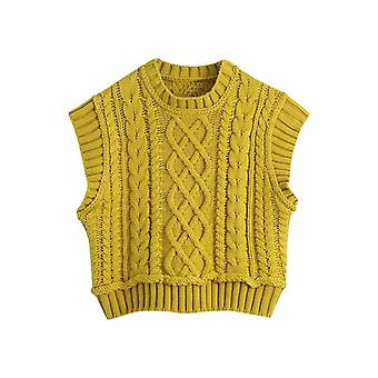 Women Casual Turtleneck Knitted Pullover Vest Autumn Chic Lady Sleeveless
