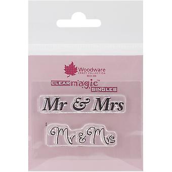Woodware Clear Minis Mr ja Mrs 1.5 x 3 postimerkissä