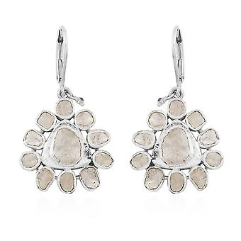 GP Polki Diamond and Blue Sapphire Drop Dangle Earrings in Sterling Silver 3 Ct