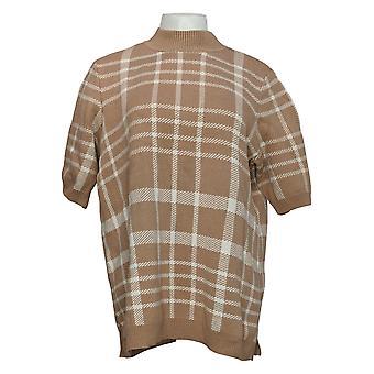 Isaac Mizrahi Live! Women's Sweater Jacquard Mock Neck Brown A387526