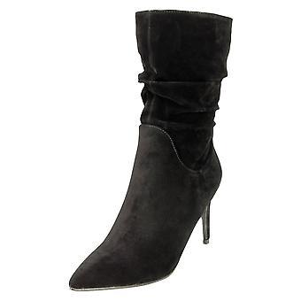 Koi Footwear High Heel Stiletto Mid Calf Boots Black Suede