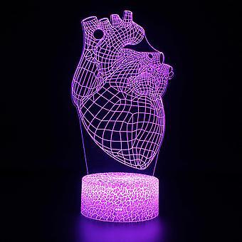 3D Optisk illusionslampa LED Nattljus, 7 färger Touch Sänglampa Sovrum Bord Art Deco Barn Nattljus med USB-kabel Nyhet Julklapp Presentormar # 338