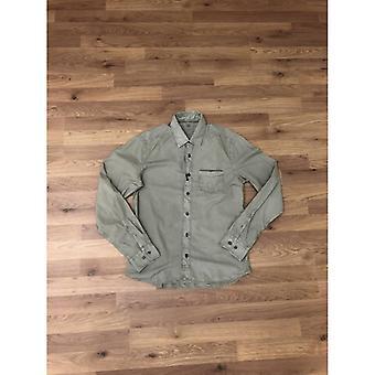 CP Company Garment Dyed Poplin Long Sleeve Shirt - Green