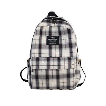 Students Backpack Women Plaid Pattern School Bag
