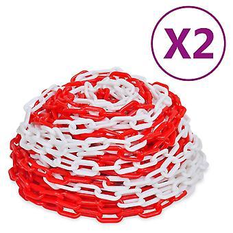 vidaXL chaînes de verrouillage 2 pcs. plastique rouge et blanc 30 m