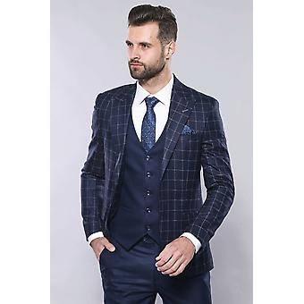 Navy blue checked vested suit | wessi
