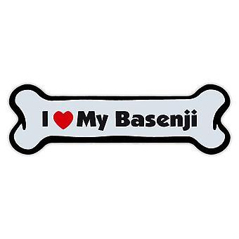 """Magnet, Hund Knochen, ich liebe meine Basenji, 7 """"X 2"""""""