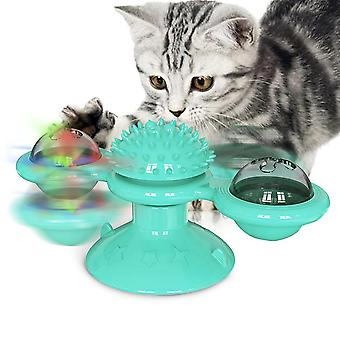Pet Dog Cat Jucărie Roti windmill Periuta de dinti cu Catnip Whirling Platan Teasing Ball (albastru)