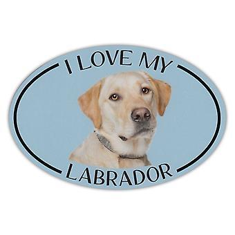 """Magnet, Oval, ich liebe meinen Labrador (gelbes Labor), 6 """"X 4"""""""